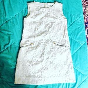 Cream embossed shift dress